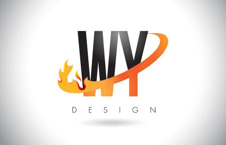 와이 wy 편지 로고 디자인 화재 불길과 오렌지 Swoosh 벡터 일러스트 레이 션.