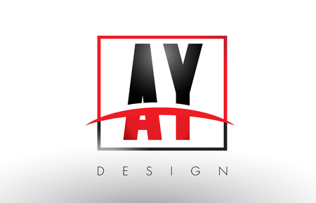 AY A Y Logo Letters with Red and Black Colors and Swoosh. Creative Letter Design Vector.