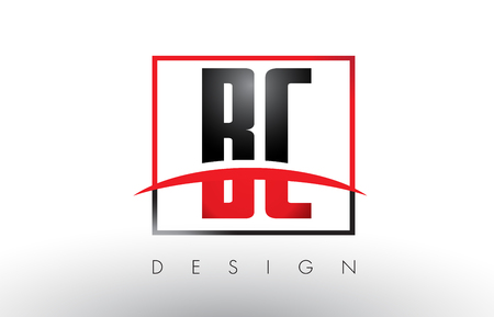 BC B C Logo Letters with Red and Black Colors and Swoosh. Creative Letter Design Vector. Illustration