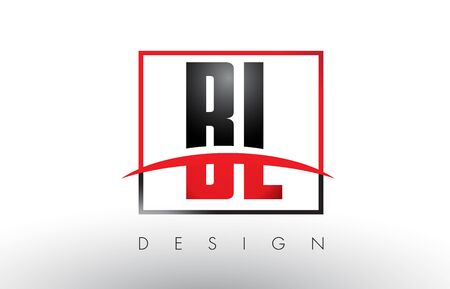 bl: BL B L Logo Letters with Red and Black Colors and Swoosh. Creative Letter Design Vector.