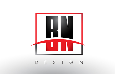 b n: BN B N Logo Letters with Red and Black Colors and Swoosh. Creative Letter Design Vector. Illustration