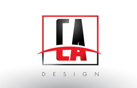 CA C A Logo Letters with Red and Black Colors and Swoosh. Creative Letter Design Vector.