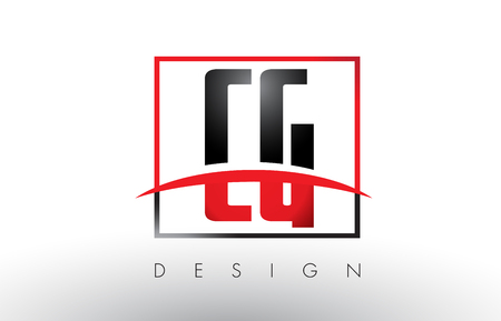 CG C G Logo Letters with Red and Black Colors and Swoosh. Creative Letter Design Vector.