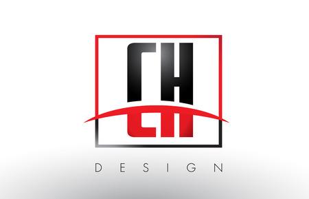 CH CH Logo Lettres avec couleurs rouges et noires et Swoosh. Vector de conception de lettre créative.