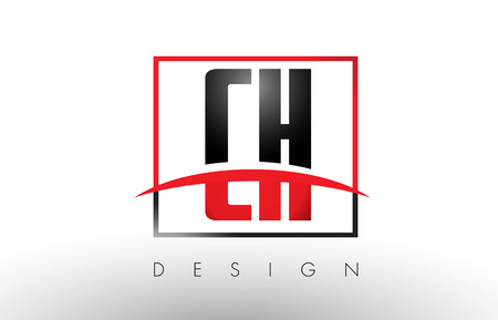 CH C H Logo Letters with Red and Black Colors and Swoosh. Creative Letter Design Vector.