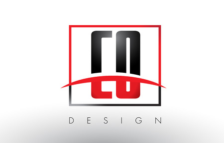 CO C O Logo Letters with Red and Black Colors and Swoosh. Creative Letter Design Vector. Illustration