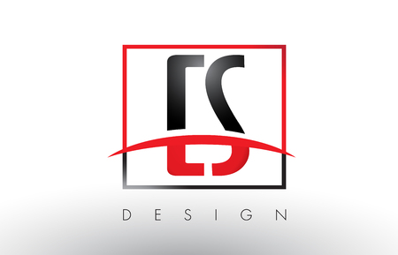 CS C S Logo Letters with Red and Black Colors and Swoosh. Creative Letter Design Vector.