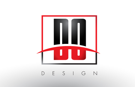 DO D O Logo Letters with Red and Black Colors and Swoosh. Creative Letter Design Vector.