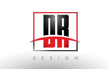 dr: DR D R Logo Letters with Red and Black Colors and Swoosh. Creative Letter Design Vector.