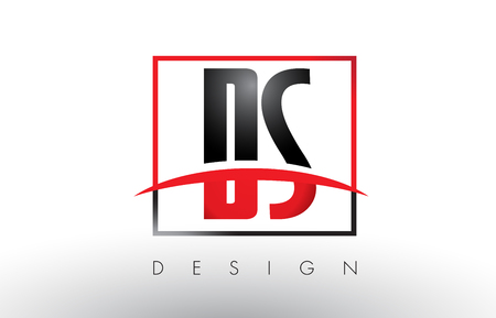 DS D S Logo Letters with Red and Black Colors and Swoosh. Creative Letter Design Vector.
