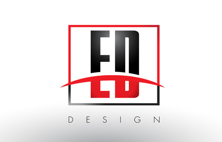 ED E D Logo Letters with Red and Black Colors and Swoosh. Creative Letter Design Vector. Illustration