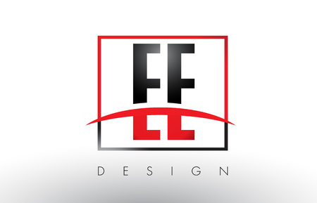 EE E E Logo Letters with Red and Black Colors and Swoosh. Creative Letter Design Vector. Illustration