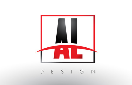 AL A L Logo Letters with Red and Black Colors and Swoosh. Creative Letter Design Vector.