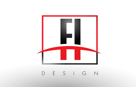 FI F I Logo Letters with Red and Black Colors and Swoosh. Creative Letter Design Vector. Illustration