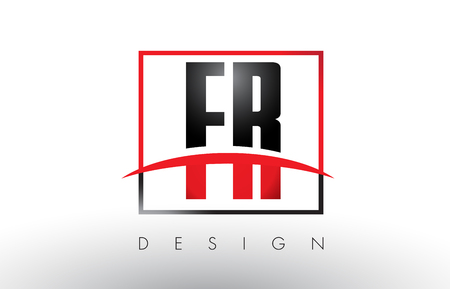FR F R Logo Letters with Red and Black Colors and Swoosh. Creative Letter Design Vector.