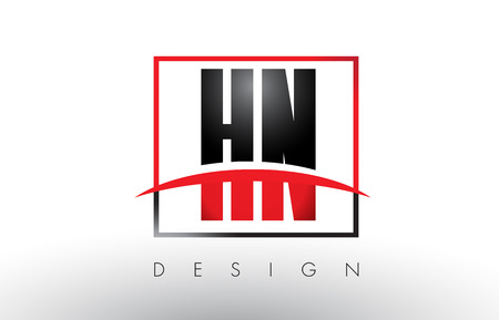 hn: HN H N Logo Letters with Red and Black Colors and Swoosh. Creative Letter Design Vector. Illustration