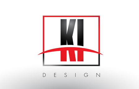KI K I Logo Letters with Red and Black Colors and Swoosh. Creative Letter Design Vector.