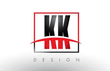KK K K Logo Letters with Red and Black Colors and Swoosh. Creative Letter Design Vector.