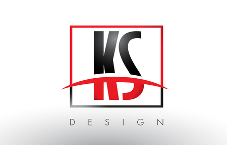 KS K S Logo Letters with Red and Black Colors and Swoosh. Creative Letter Design Vector.