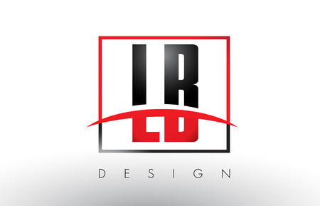 LB L B Logo Letters with Red and Black Colors and Swoosh. Creative Letter Design Vector. Ilustração