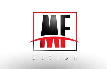 MF M F Logo Letters with Red and Black Colors and Swoosh. Creative Letter Design Vector.