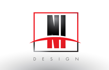 NI N I Logo Letters with Red and Black Colors and Swoosh. Creative Letter Design Vector.