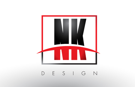 NK N K Logo Letters with Red and Black Colors and Swoosh. Creative Letter Design Vector.