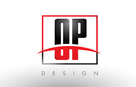 OP O P Logo Letters with Red and Black Colors and Swoosh. Creative Letter Design Vector.
