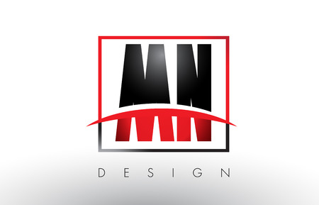 mn: MN M N logo letters with red and black colors and swoosh