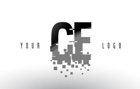 CE C E Pixel Letter with Digital Shattered Black Squares. Creative Letters Illustration.