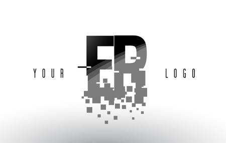 ER E R Pixel Letter Logo with Digital Shattered Black Squares. Creative Letters Vector Illustration.
