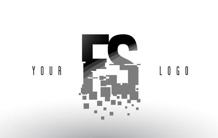 FS F S Pixel Letter with Digital Shattered Black Squares. Creative Letters Illustration.
