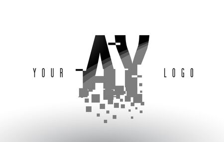 AY A Y Pixel Letter with Digital Shattered Black Squares. Creative Letters Illustration.