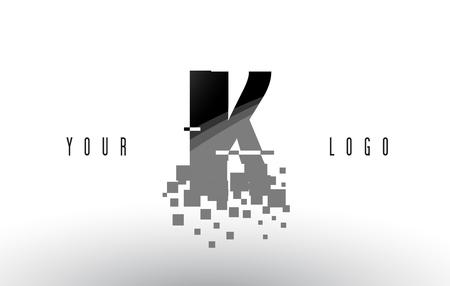 IK I K Pixel Letter with Digital Shattered Black Squares. Creative Letters Illustration.