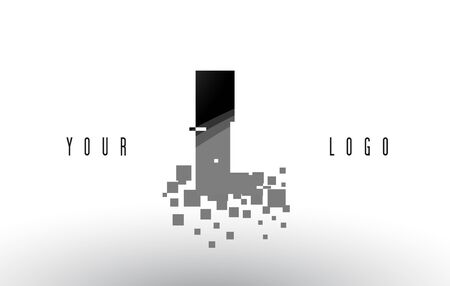 IL I L Pixel Letter with Digital Shattered Black Squares. Creative Letters Illustration.