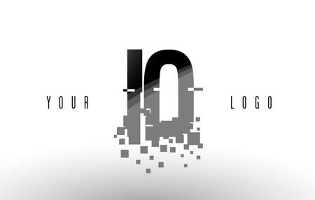 IO I O Pixel Letter Logo with Digital Shattered Black Squares. Creative Letters Vector Illustration.