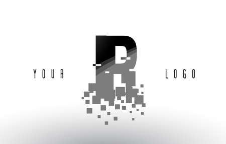 IR I R Pixel Letter with Digital Shattered Black Squares. Creative Letters Illustration.