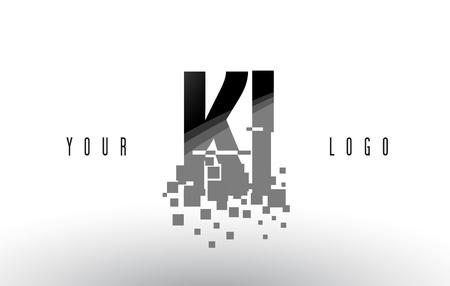 KI K I Pixel Letter with Digital Shattered Black Squares. Creative Letters Illustration. Illustration