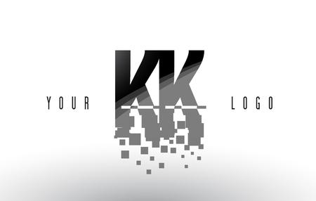 KK K K Pixel Letter with Digital Shattered Black Squares. Creative Letters Illustration.