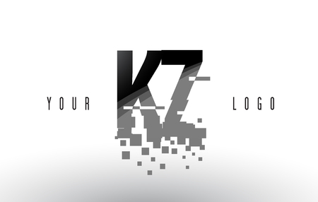 kz: KZ K Z Pixel Letter with Digital Shattered Black Squares. Creative Letters Illustration. Illustration