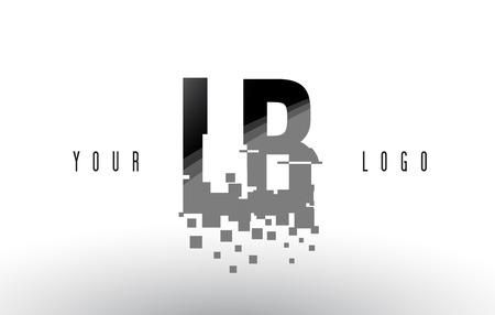 LB L B ピクセル デジタル文字は、黒の正方形を粉砕しました。創造的な文字の図。  イラスト・ベクター素材