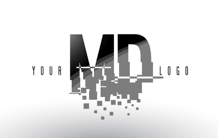 md: MD M D Pixel Letter Logo with Digital Shattered Black Squares. Creative Letters Vector Illustration.
