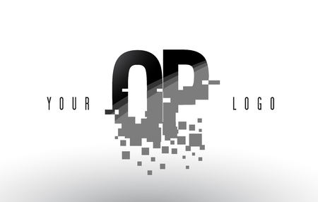 OP O P Pixel Letter Logo with Digital Shattered Black Squares. Creative Letters Vector Illustration. Ilustração