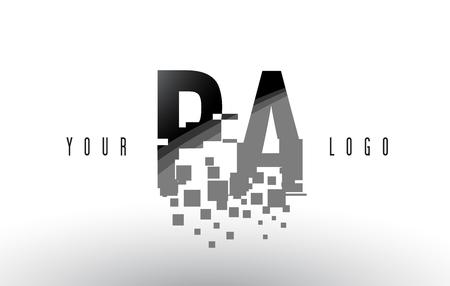 PA PA Pixel Letter Logo met digitale verbrijzelde zwarte vierkanten. Creatieve brieven vectorillustratie.