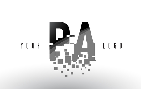 PA P A Pixel Letter Logo with Digital Shattered Black Squares. Creative Letters Vector Illustration.