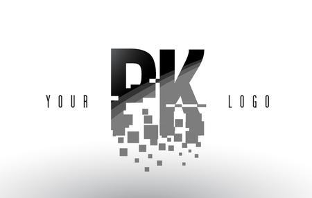 PK P K Pixel Letter Logo with Digital Shattered Black Squares. Creative Letters Vector Illustration.