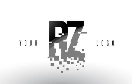 RZ R Z Pixel Letter Logo with Digital Shattered Black Squares. Creative Letters Vector Illustration.