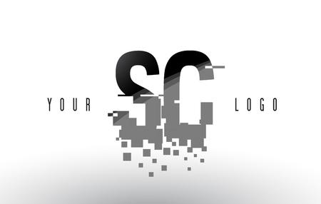 SC S C Pixel Letter Logo with Digital Shattered Black Squares. Creative Letters Vector Illustration.