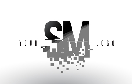 SM S M Pixel Letter Logo with Digital Shattered Black Squares. Creative Letters Vector Illustration. Ilustração