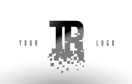 TR T R Pixel Letter Logo with Digital Shattered Black Squares. Creative Letters Vector Illustration.